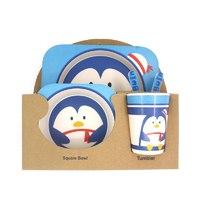 """Детский Набор ЭКО-Посуды Из Бамбукового Волокна ,(5 предметов) """"Пингвин""""."""