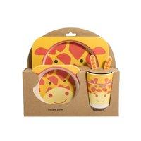 """Детский Набор ЭКО-Посуды Из Бамбукового Волокна ,(5 предметов) """"Жираф"""""""