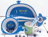 Детский Набор ЭКО-Посуды Из Бамбукового Волокна -Синий Кит.