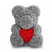 Мишка с сердечком из 3D роз 40 см