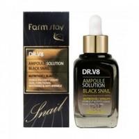 FarmStay Dr. V8 Ampoule Solution Black Snail Сыворотка для лица с муцином черной улитки 30мл